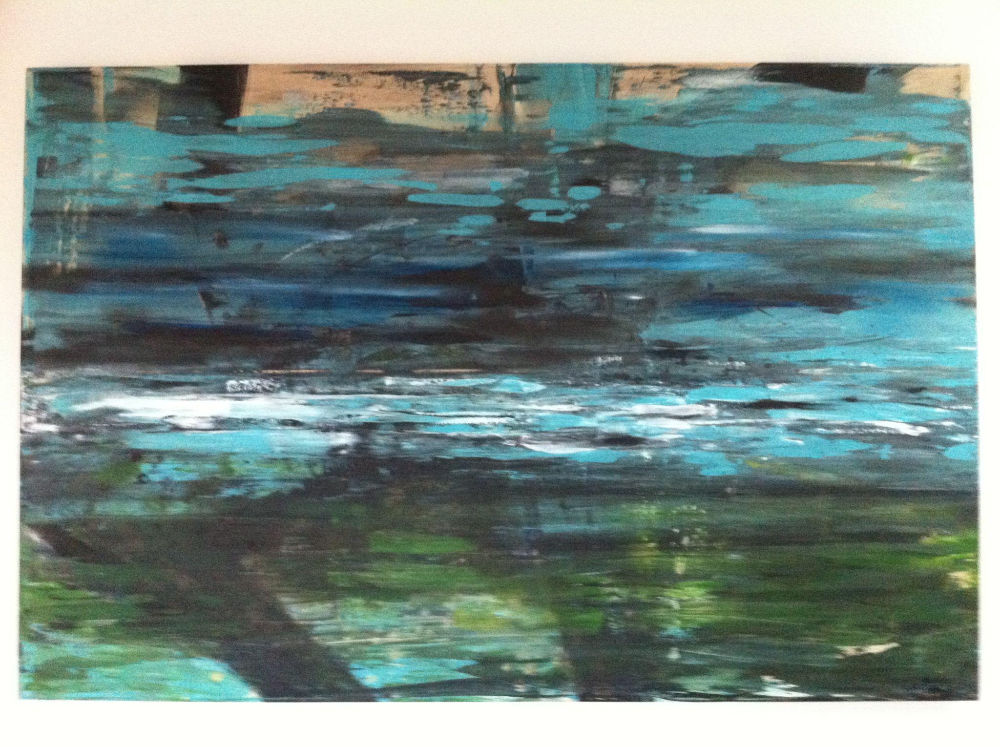 pod vodou, 120/150 cm, 2013, akryl na plátně