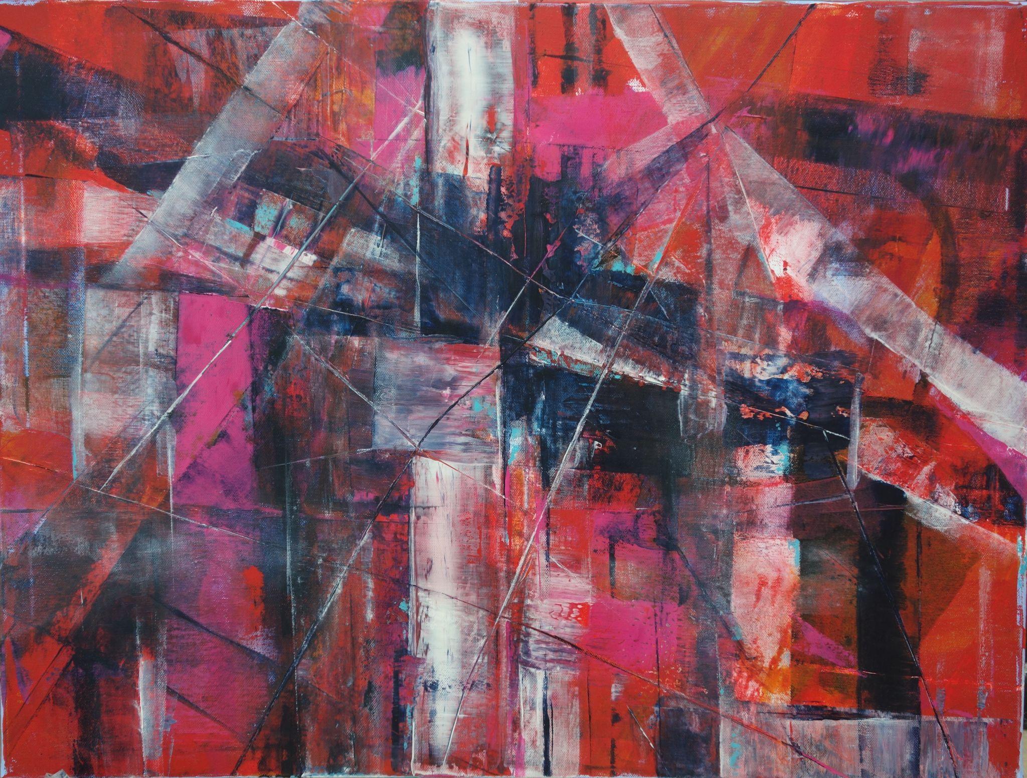 jeřáb, 60/80 cm, 2016, akryl na plátně